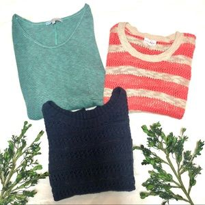 BUNDLE of 3 Lightweight Sweaters Navy, Coral, Teal